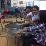 Students playing the big drums!